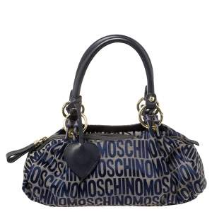 Moschino Blue Monogram Canvas and Leather Satchel