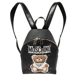 Moschino Black Faux Leather Small Safety Pin Teddy Backpack