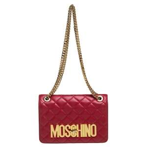 Moschino Red Quilted Leather Logo Flap Shoulder Bag