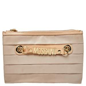 Moschino Beige Pleated Fabric And Leather Logo Pouch Clutch