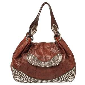 Moschino Brown Croc Embossed Leather Studded Shoulder Bag