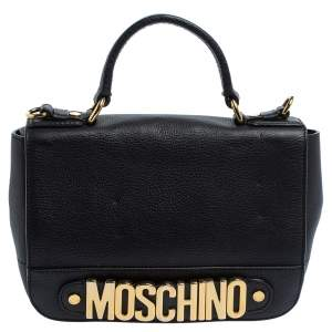 Moschino Black Leather Logo Flap Top Handle Bag