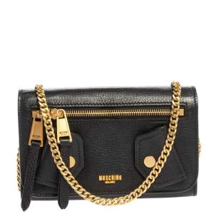 Moschino Black Leather Wallet on Chain