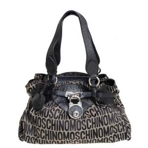 Moschino Black Monogram Leather and Canvas Lock Tote