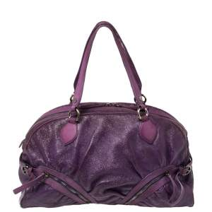 Moschino Purple Crinkled Patent Leather Double Zip Pocket Duffel Bag