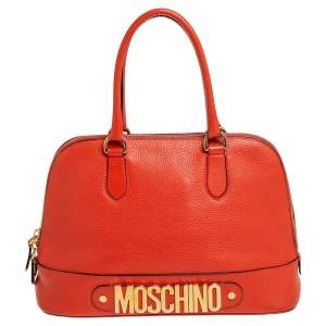 Moschino Orange Logo Plaque Leather Dome Satchel