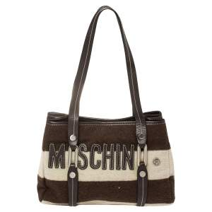 Moschino Brown/White Wool And Leather Logo Tote