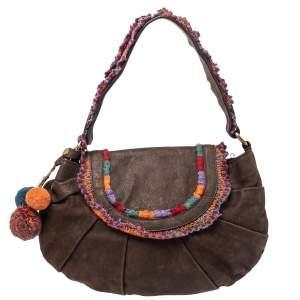 Moschino Brown Leather and Fabric Trim Pom Pom Hobo