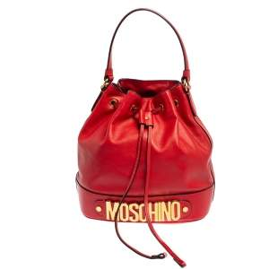 Moschino Red Leather Classic Logo Drawstring Bucket Bag