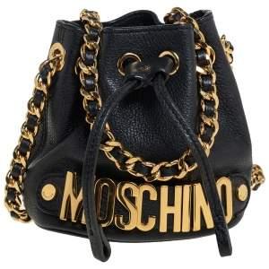 Moschino Black Leather Drawstring Bucket Crossbody Bag