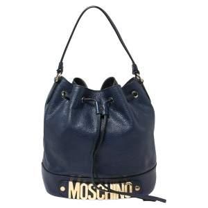 Moschino Blue Leather Drawstring Bucket Bag