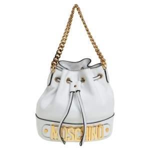 Moschino White Leather Logo Drawstring Bucket Bag