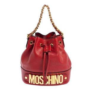 Moschino Red Leather Logo Drawstring Bucket Bag