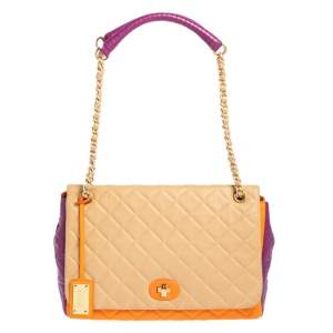 Moschino Multicolor Quilted Leather Flap Shoulder Bag