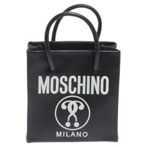 حقيبة يد توتس موسكينو فيرتيكال ميني جلد بالشعار أسود