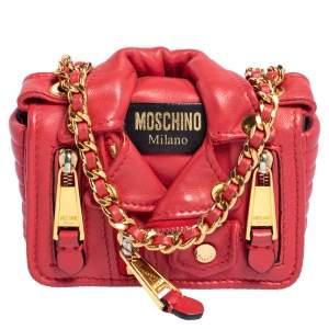 Moschino Red Leather Biker Jacket Crossbody Bag