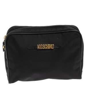 Moschino Black Nylon Cosmetic Pouch