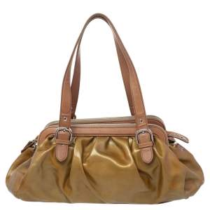 Moschino Metallic Gold/Brown Patent And Leather Satchel