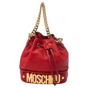 Moschino Red Leather Classic Logo 30th Anniversary Special Edition Drawstring Bucket Bag