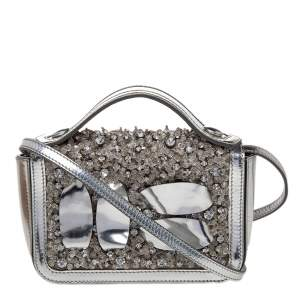 Moschino Silver Patent Leather Embellished Flap Top Handle Bag
