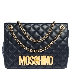 Moschino Black Quilted Leather Logo Flap Shoulder Bag