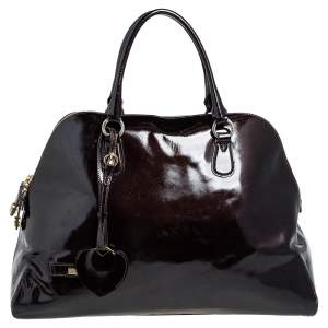 Moschino Dark Brown Patent Leather Heart Charm Dome Satchel