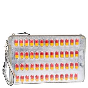 Moschino Silver Leather And PVC Pill Blister Wristlet Clutch