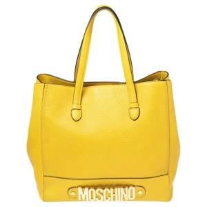 Moschino Yellow Leather Logo Detail Tote