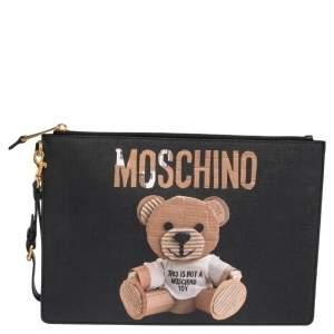 Moschino Black Coated Canvas Medium Teddy Bear Print Wristlet Clutch
