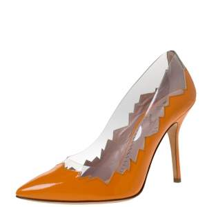 Moschino Cheap and Chic Orange Patent Leather Laser Cut Pumps Size 38