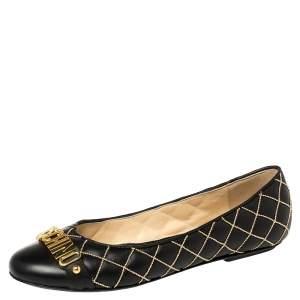 حذاء فلات باليه موسكينو زخرفة شعار جلد أسود مقاس 40