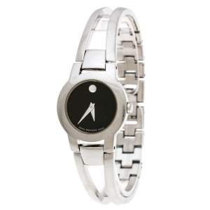 Movado Black Stainless Steel Amorosa 84 E4 1842 Women's Wristwatch 24 mm