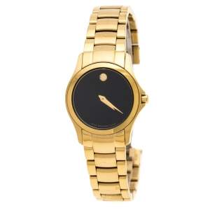 Movado Black Yellow Gold PVD Coated Stainless Steel Classic 50.3.36.1343 Women's Wristwatch 26 mm