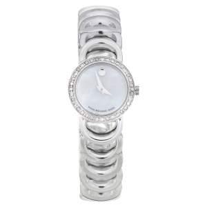 Movado Mother Of Pearl Stainless Steel Diamond Rondiro 0606252 Women's Wristwatch 26 mm