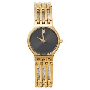 Movado Black Gold Plated Stainless Steel Esperanza Museum Women's Wristwatch 23 mm