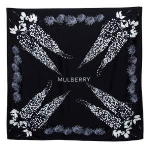 Mulberry Black Floral Logo Print Silk Scarf