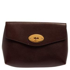 Mulberry Burgundy Leather Cosmetic Pouch