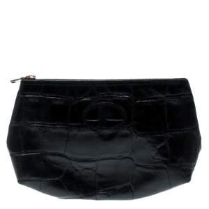 حقيبة صغيرة مالبري نقش تمساح سوداء