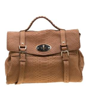 Mulberry Brown Python Embossed Leather Oversized Alexa Satchel