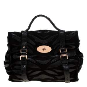 Mulberry Black Suede and Lizard Embossed Leather Alexa Satchel