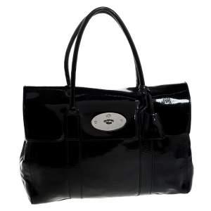 حقيبة مالبري بايسواتر جلد لامع أسود