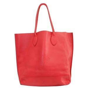 Mulberry Red Leather Tote Bag