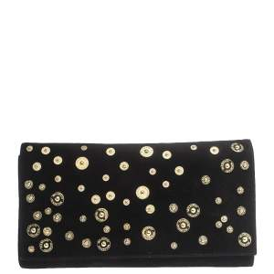 Mulberry Black Suede Studded Flap Clutch