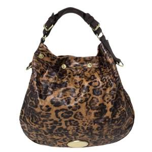 Mulberry Brown/Black Leopard Print Leather Mitzy Hobo