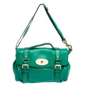 Mulberry Green Leather Alexa Satchel