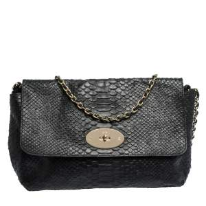 Mulberry Black Python Embossed Leather Lily Crossbody Bag