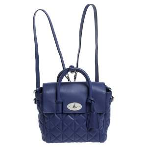 Mulberry Blue Quilted Leather Mini Cara Delevingne Backpack
