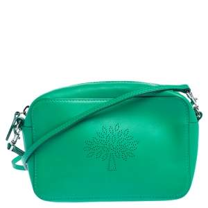 Mulberry Green Perforated Logo Leather Crossbody Bag