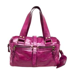 Mulberry Purple Leather Mabel Satchel