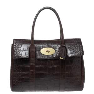 Mulberry Dark Brown Croc Embossed Leather Bayswater Satchel